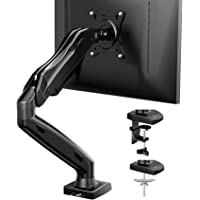 Single Monitor Mount - Articulating Gas Spring Monitor Arm, Adjustable VESA Mount Desk Stand with Clamp and Grommet Base…