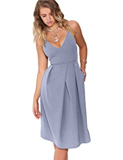 91f8c2b85b3 Eliacher Women s Deep V Neck Adjustable Spaghetti Straps Summer Dress  Sleeveless Sexy Backless Party Dresses with