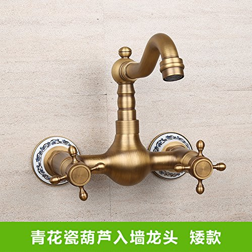 LighSCH Antique Sink Mixer Tap Bathroom Wall-Mounted Hot and Cold and Double-Hole Lowe