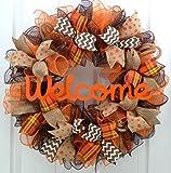 Fall Wreath | Orange Brown Burlap Thanksgiving Autumn Welcome Party Mesh Door Wreath : F3