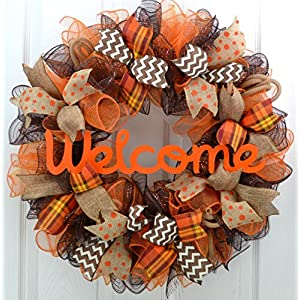 Fall Wreath | Orange Brown Burlap Thanksgiving Autumn Welcome Party Mesh Door Wreath : F3 80