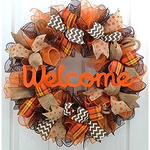 Fall Wreath | Orange Brown Burlap Thanksgiving Autumn Welcome Party Mesh Door Wreath : F3 79