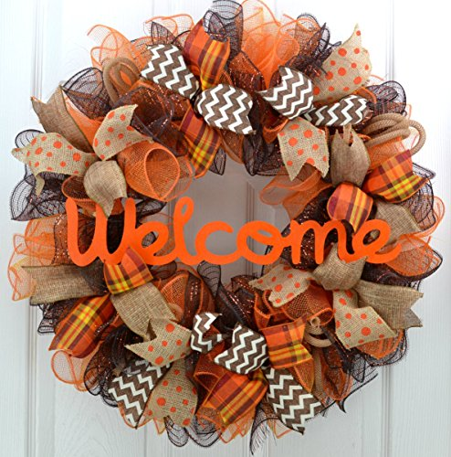 Fall Wreath | Orange Brown Burlap Thanksgiving Autumn Welcome Party Mesh Door Wreath : F3 (Welcome To Halloween Party)