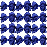 4 Inch Boutique Girls Hair Bows Hair Clips For Baby Girls Toddlers 12 Pcs Solid Color (Royal blue)