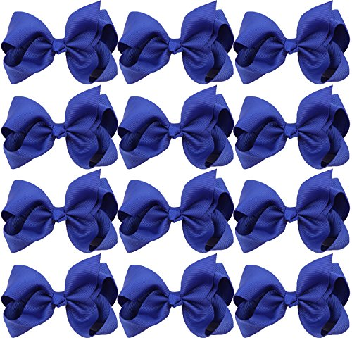 4 Inch Boutique Girls Hair Bows Hair Clips for Baby Girls Toddlers 12 Pcs Solid Color (Royal blue) ()