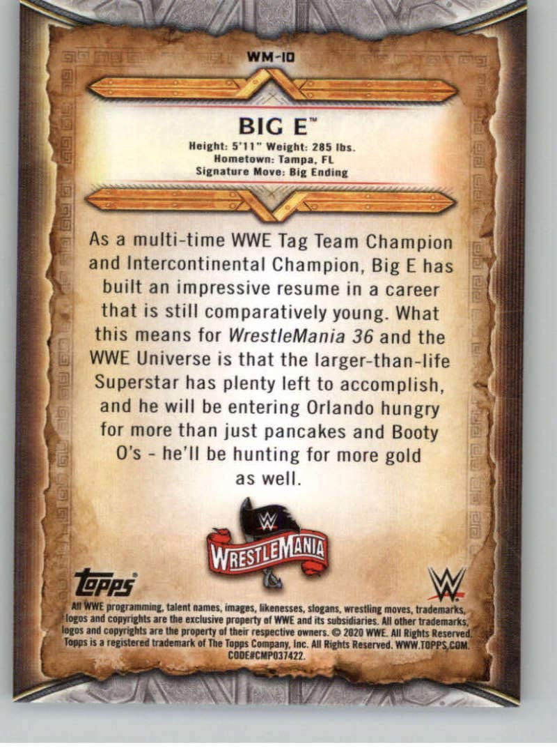 2020 Topps WWE Road to WrestleMania Roster #WM-10 Big E Wrestling Trading Card