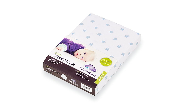Träumeland Spannbetttuch für Babymatratzen Jersey blaue sterne 60x120//70x140 TOP