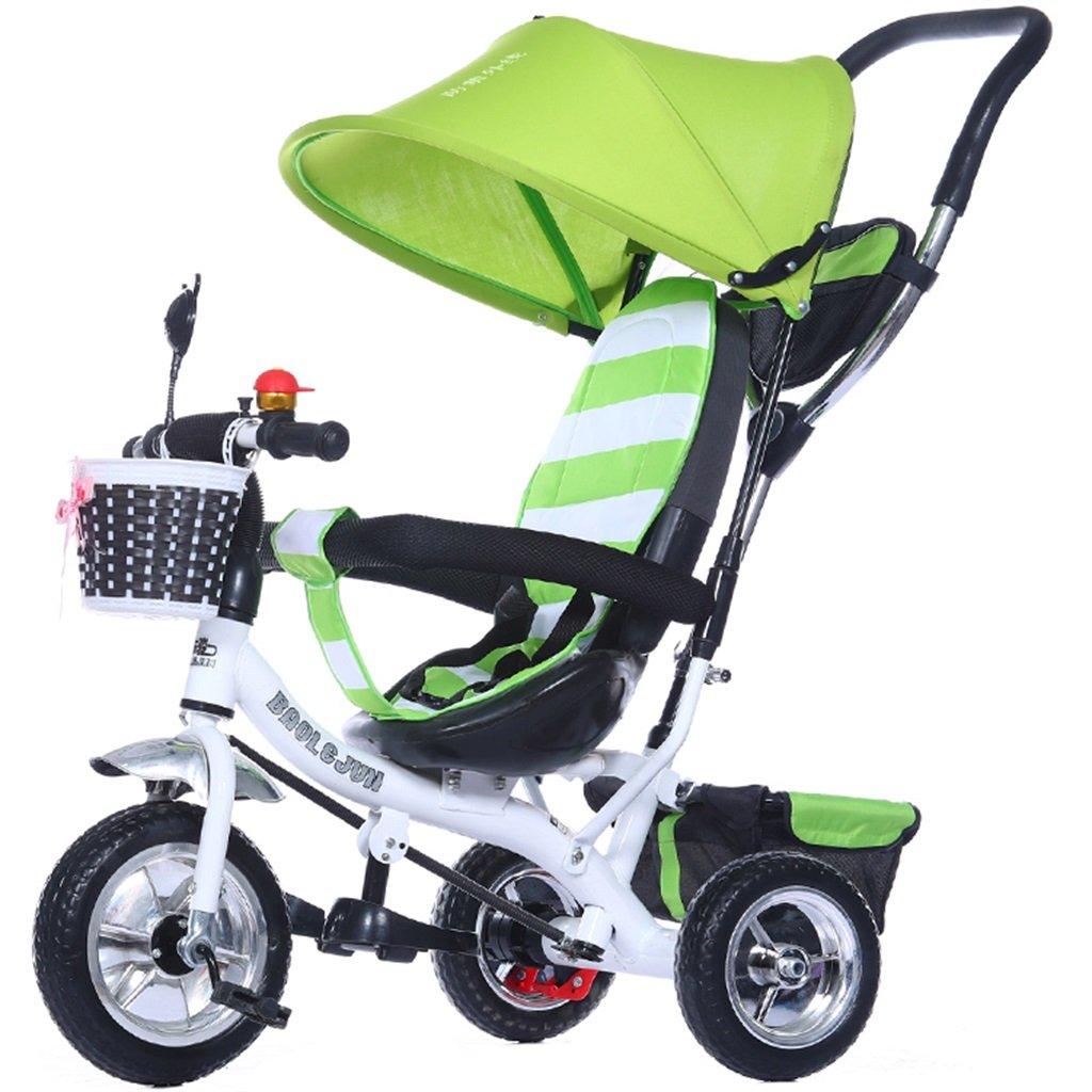 KANGR-子ども用自転車 多機能4-in-1チャイルド三輪車キッドトロリープッシュハンドルステーラー自転車折り畳み式抗UV日よけ| 1-3-6歳の少年少女と赤ちゃんのおもちゃ|ブレーキ付3輪バイク|グリーン ( 色 : A型 がた ) B07BTVSZQ5 A型 がた A型 がた