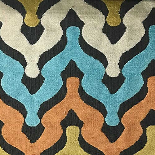 Leicester - Bold Chevron Cut Velvet Upholstery Fabric by the Yard