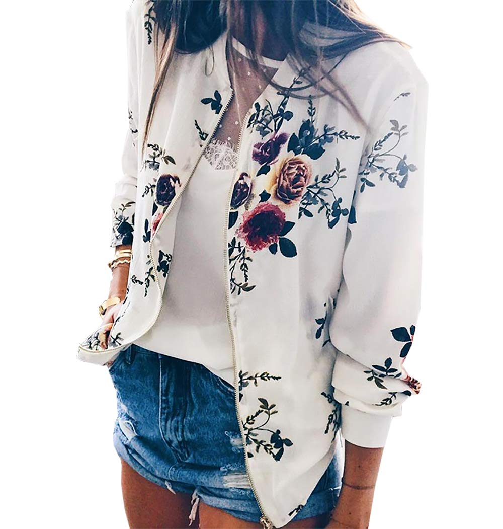 PRETTYGARDEN Women's Long Sleeve Zip up Floral Printed Classic Baseball Biker Bomber Jacket Short Coat (White, Small)