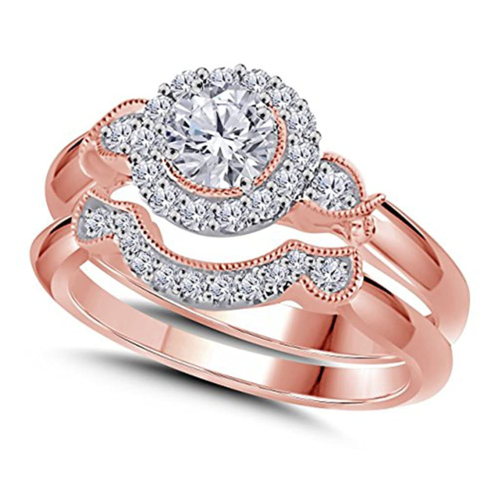 Rose Gold Plated Alloy CZ Simulated White Diamond Engagement Wedding Bridal Ring