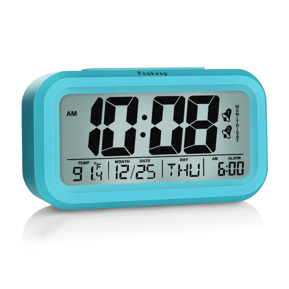 Peakeep Digital Alarm Clock 2 Alarms Optional Weekday Mode, Snooze, Smart Night Light, Battery Operated Only (Blue)