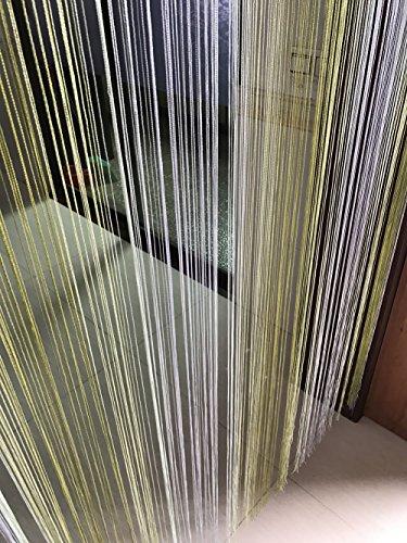 Multi Color String Curtain Fringe Panel Room Divider: Eyotool 1x2 M Door String Curtain Rare Flat Silver Ribbon
