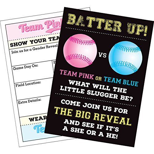 Invitation Best Friends (Rock Era Inc 25 Baseball Gender Reveal Party Invitations with Envelopes (5x7 Inches) Invite Your Friends to Share in The Excitement When You Find Out Your Baby's Gender)