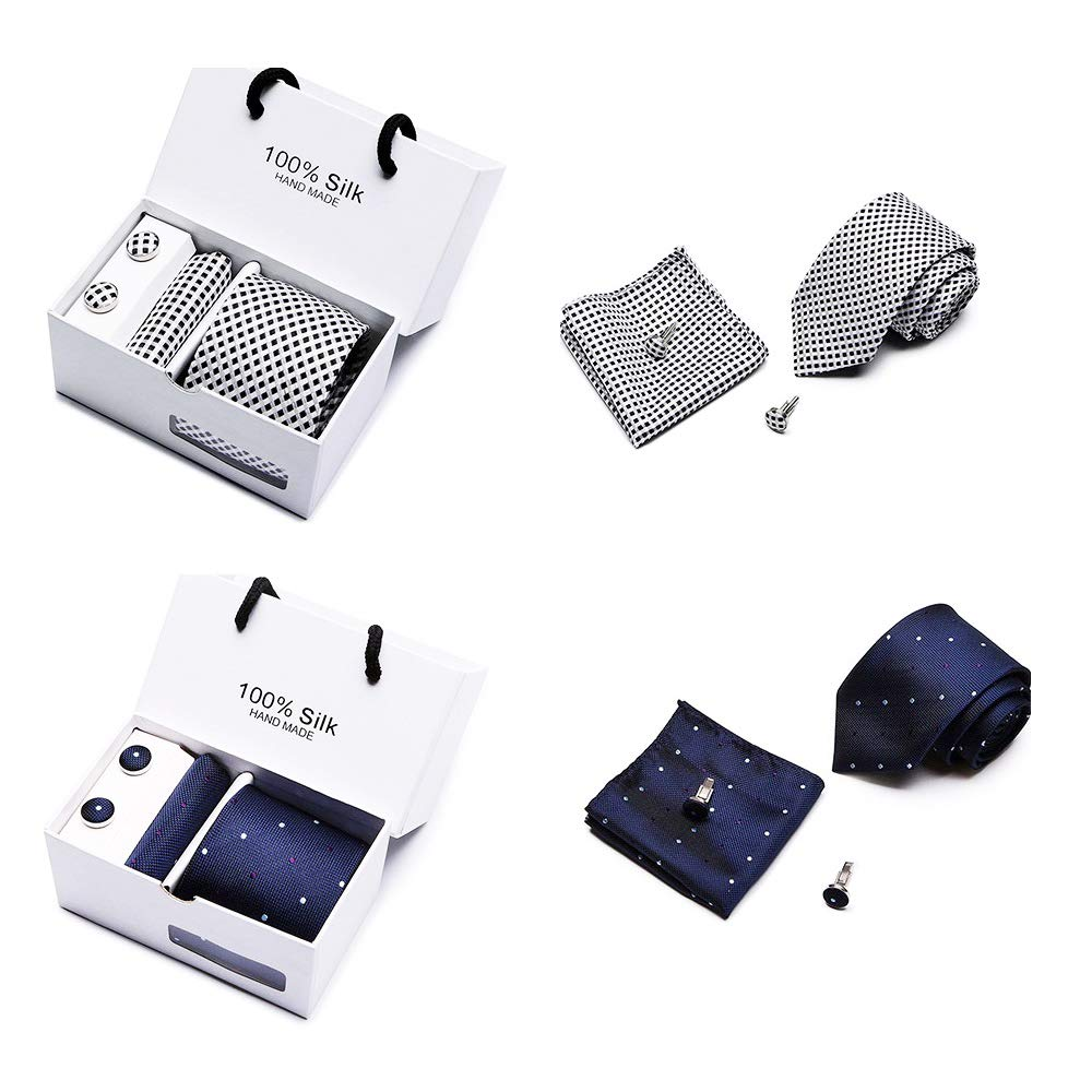 2 PACK Mens Tie Fashion Accessories Set,Cufflinks, Pocket Square Set (Square)