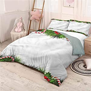 prunushome Christmas Bedding Duvet Cover Set Holly Sprigs Candies Printing Bedclothes Decor King