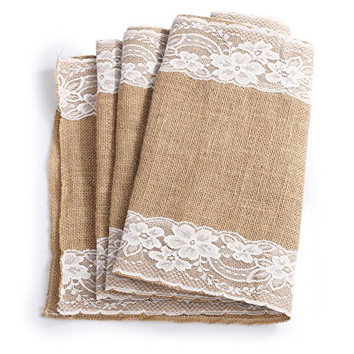 Ling's moment 12 x108 Inch Burlap Table Runner White Lace Trim Pack of 5 For Wedding Decorations Bridal Baby Shower Party Decor Rustic