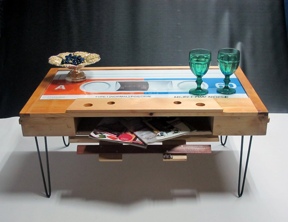 Probest Cassette Tape Coffee Table, Coffee Table, Pine Wood Coffee Table, Table, Interesting Coffee Table