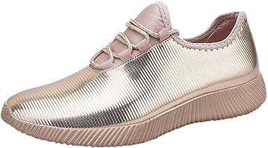beautyjourney Zapatillas de Mujer Espejo Reflectante Calzado Deportivo Zapatillas Antideslizantes en Color Liso Zapatos para Correr Zapatos Casuales Bajos Superiores: Amazon.es: Ropa y accesorios