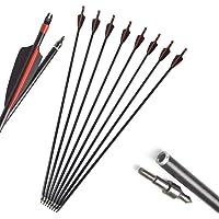 AMEYXGS 12/24 unids Tiro con Arco Flechas de Fibra de Vidrio 31 Pulgadas Flechas de Práctica de Puntería Spine 500 con…