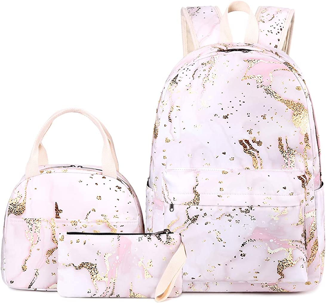 BLUBOON Teen Girls School Backpack Floral Bookbag Set with Lunch Box Pencil Case Travel Laptop Backpack Casual Daypacks