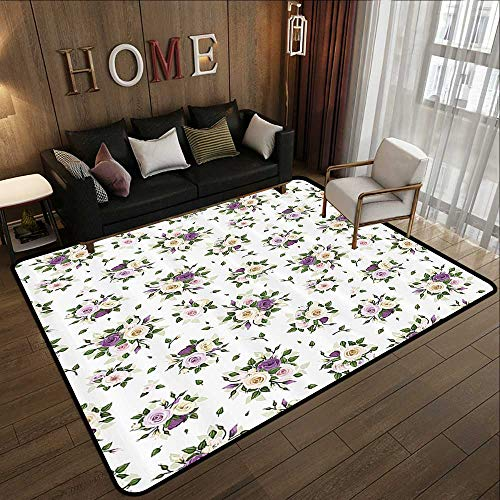 (Modern Abstract Area Rug,Roses Decorations Collection,Roses Rosebuds and Lisianthus Flower Symbol of Love Baroque Style,Purple Yellow Green 47