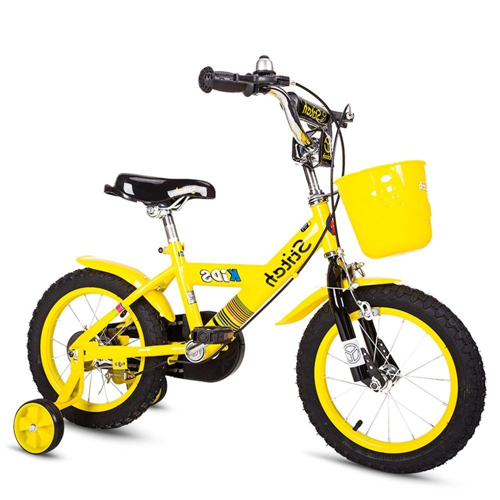 YANGFEI 子ども用自転車 ボーイズキッズバイクレッド/ブルー、スチールフレーム、1速調整可能なリーチレバーパドルコンフォートサドル 212歳 B07DWVMFN3 12Inch|イエロー いえろ゜ イエロー いえろ゜ 12Inch