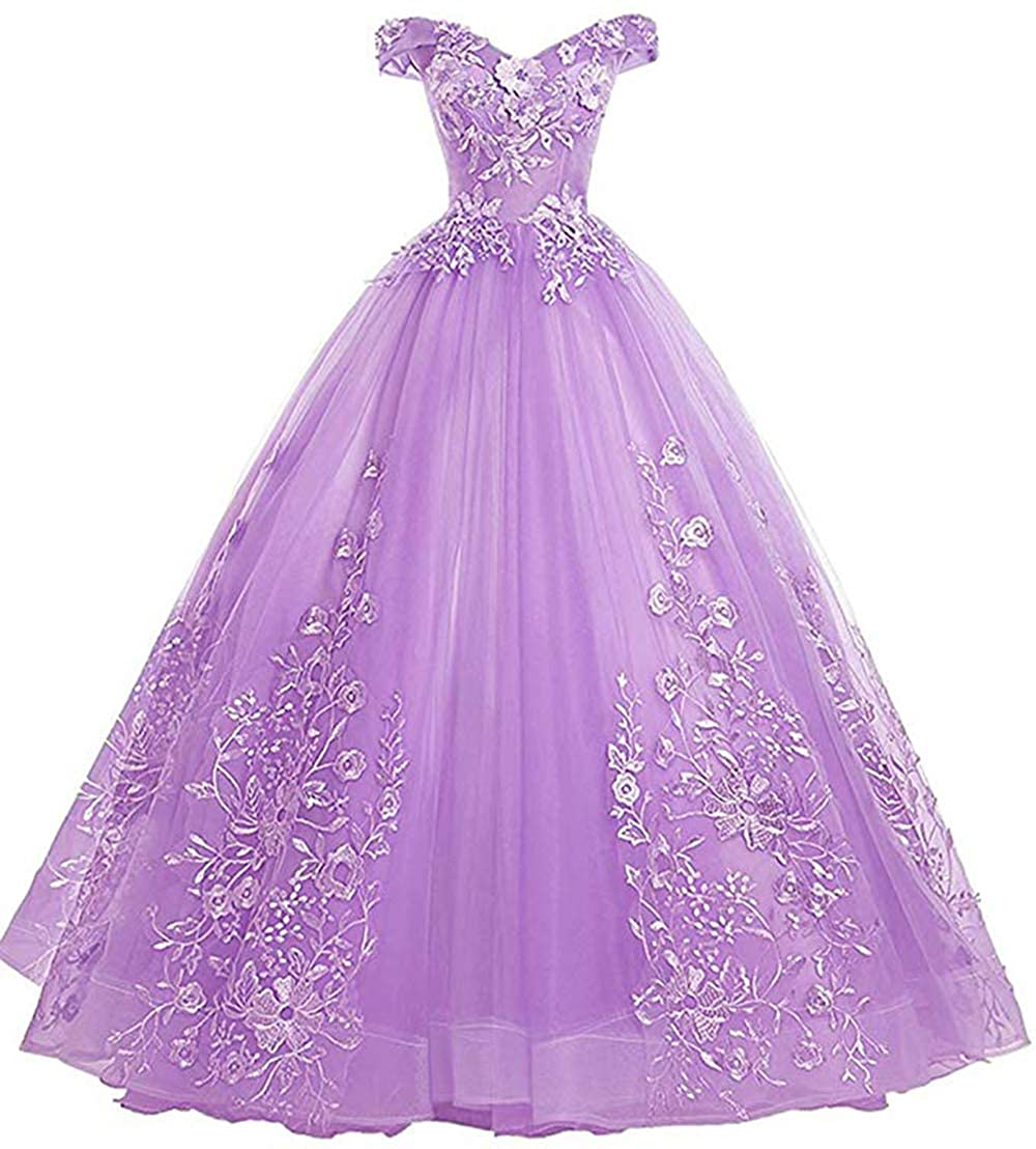 Lavender Womens Off Shoulder Quinceanera Dresses Lace Applique Beaded Prom Dresses A Line Tulle Evening Formal Gowns