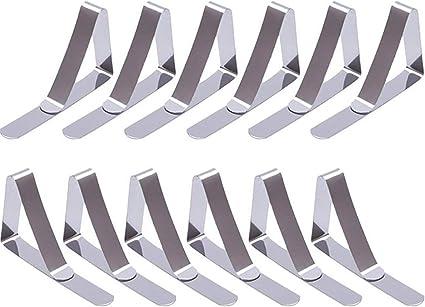 Argento 12 Pezzi fermatovaglia in Acciaio Inox Tovaglia Copertura Clip Tavolo Panno Morsetti di Metallo
