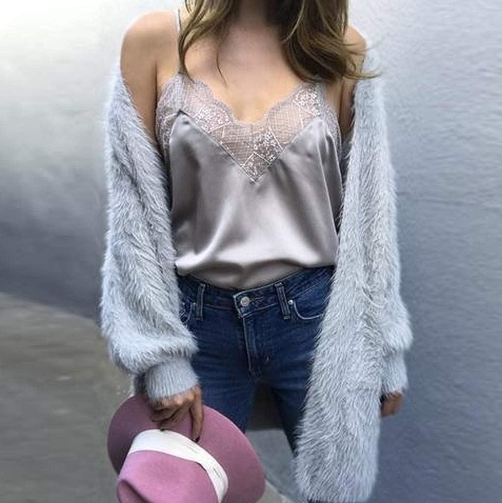 ... En V Costura de Encaje Color Sólido Camisa de Verano,Sexy Off Shoulder,Suelto Casual Tops de Mujer Sudadera de Mujer: Amazon.es: Ropa y accesorios