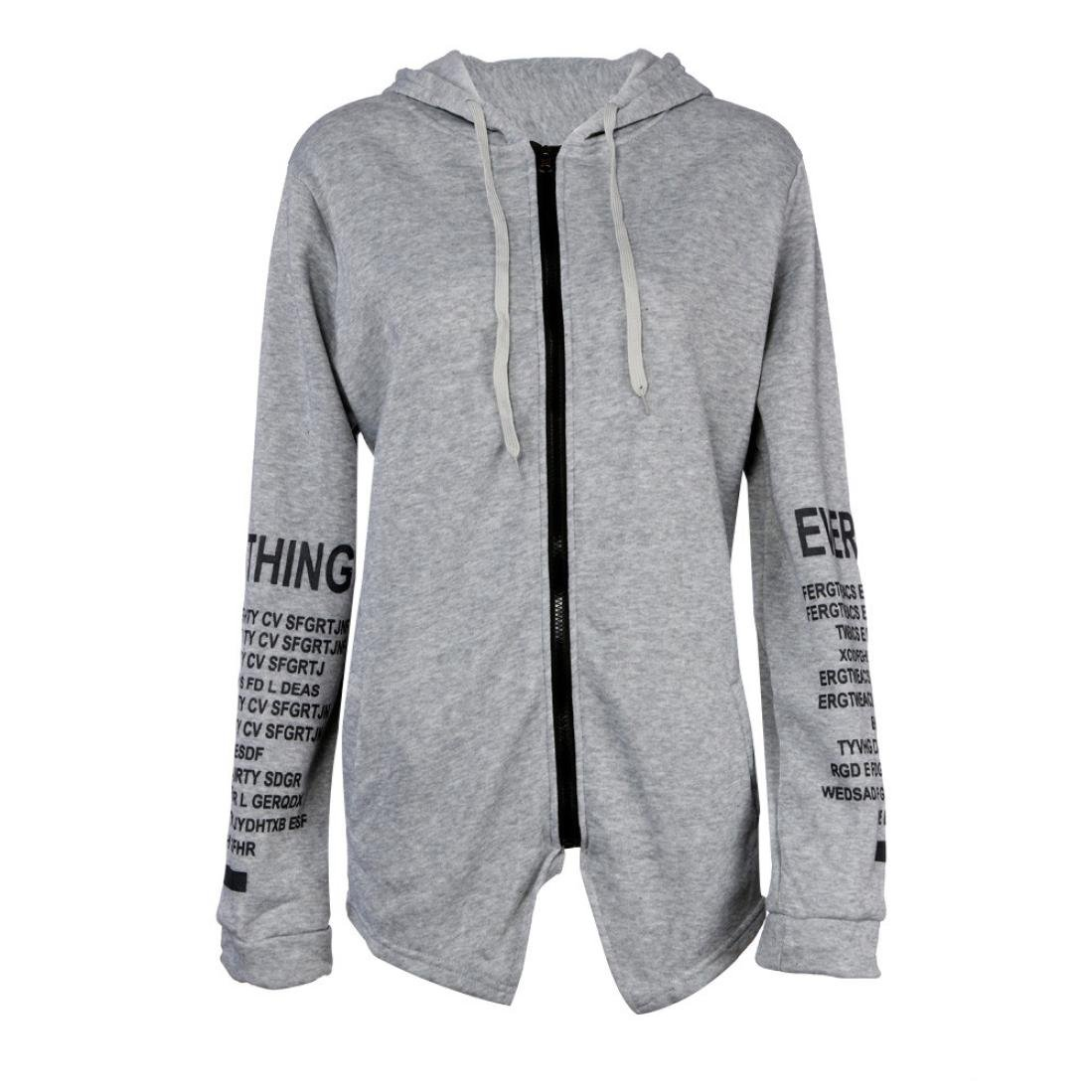 Hot ! Women Coat, Ninasill Exclusive Long Sleeve Graffiti Letter Printing Sweater Zipper Hoodie Coat (S, Gray) z951003c