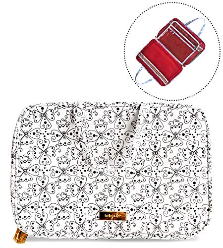 - Makeup Travel Bag with Brush Compartment, Portable Cosmetic Case Organizer for Storage of Toiletries, Black & White Floral