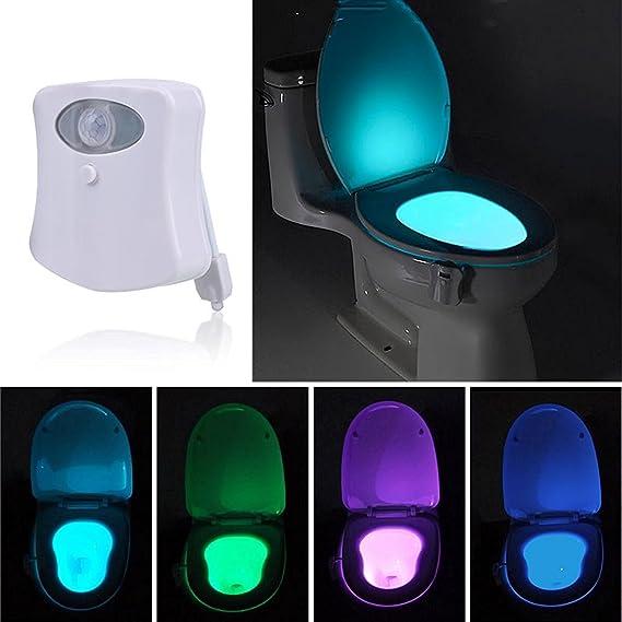 Gyoyo - Luz LED para tapa de WC con sensor de movimientos y 8 cambios de color - Iluminación para WC ideal para niños, ancianos o personas con dificultades ...