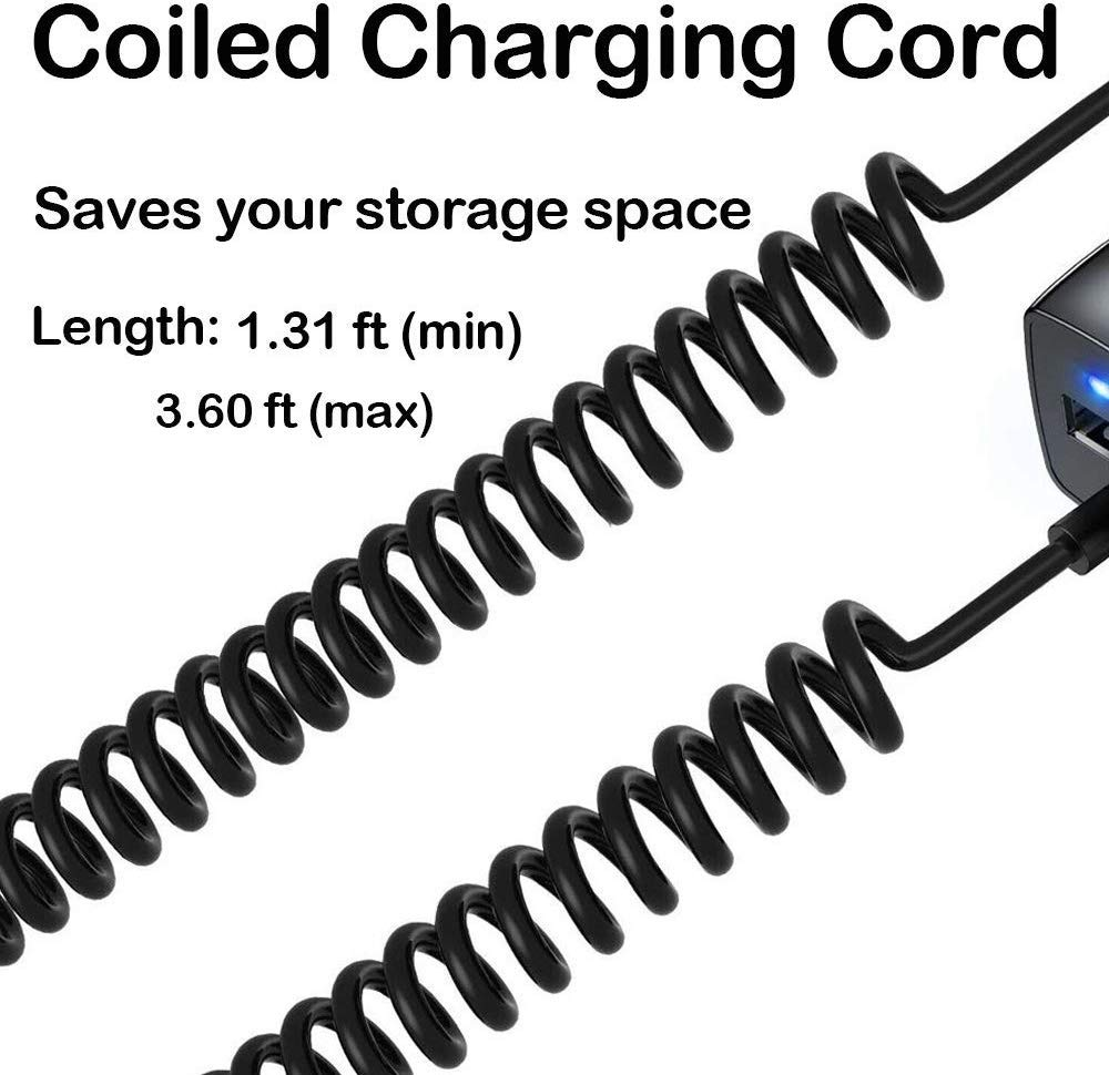 ROSAUI for iPhone iPod iPad Car Charger 10W//2.1A Rapid Charger USB Car Charger Built-in Coiled Cable Lightning Cord Retractable Charging Cord Extra USB Port Black