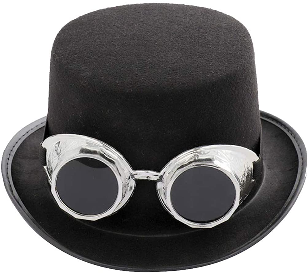 TOYANDONA Sombrero de Copa Steampunk con Gafas Engranajes Gafas Traje Victoriano Sombrero para Carnaval Cosplay Rendimiento de Halloween (Plata)