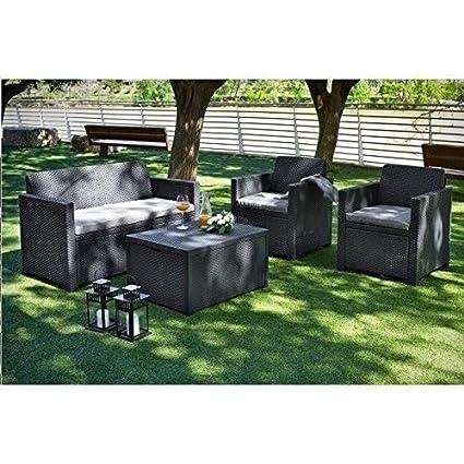 Merano-Set de mesa y sillas de jardín 4 personas, resina, efecto ...