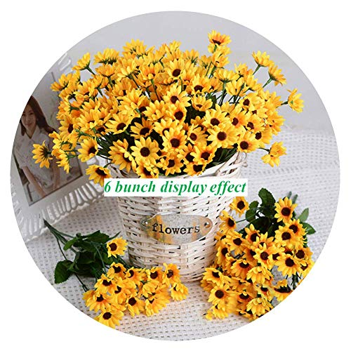 Artfen Artificial Sunflower 6 Bouquet Artificial Flowers Fake Sunflowers Floral Decor Bouquet Home Hotel Office Wedding Party Garden Craft Art Decor 13 inch No Vase]()