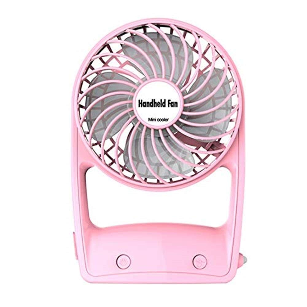 Desktop USB Fan Portable Ultra-Quiet Mini Handheld Fan for Office Outdoor Family Travel 360 Rotary with USB Battery (Color : Pink) by USBFAN (Image #1)