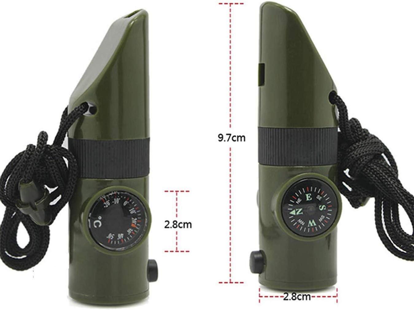 RICISUNG Sifflet de Sauvetage de Secours de sifflet durgence 7 dans 1 Outil Multifonction Pratique pour la randonn/ée en Camping en Plein air