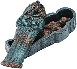 1PC Aquarium Decoration Egyptian King Tutankhamun Pharaoh Sarcophagus Coffin with Mummy Figurine Set Fish Tank Ornament Tombstone Historical Sculpture