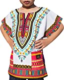 Raan Pah Muang RaanPahMuang Childs Unisex African Dashiki Kaftan Shirt - XS To L - All Colours, 10-12 Years, Pink White