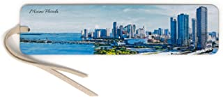 product image for Miami Waterfront Skyline - Color Wooden Bookmark with Suede Tassel