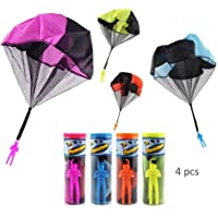 HanYoer 4 Pcs Parachute Toy Tangle Free Parachutes Men Hand Throwing Soldier Toys Outdoor Children's Flying Toys