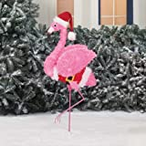 Holiday Time Fluffy Flamingo Lights Up with Santa Hat Costume 38in
