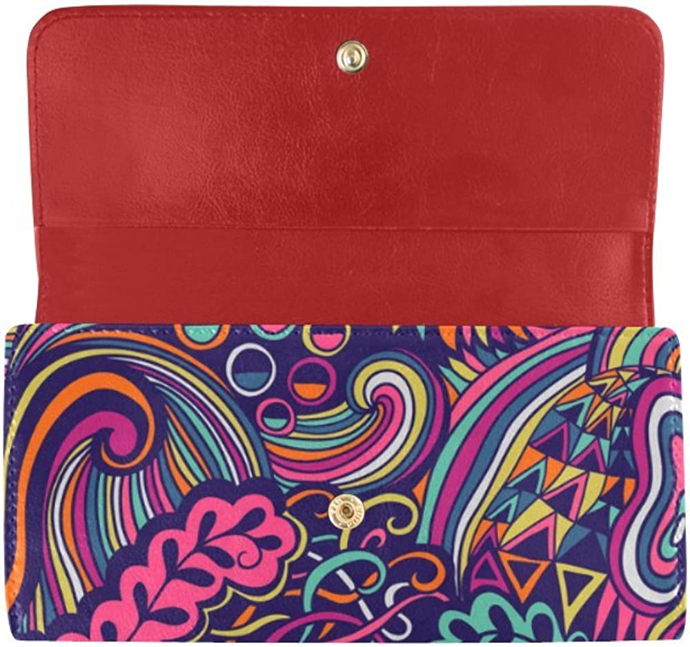 InterestPrint women trifold wallet Abstract pattern flowers birds comic speech bubbles designer wallets
