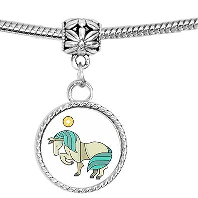 Año de la caballo símbolo chino Ilustración encanto pulsera: Amazon.es: Joyería
