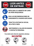 NMC PST155SP Stop Read Before Entering Spanish, 24 X 18 X 0.01, Heavy-Duty Poster Paper
