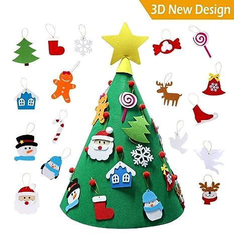 Cozywind 3D Arbol de Navidad de Fieltro, DIY Navidad Decoración Colgante Año Regalo para Niños