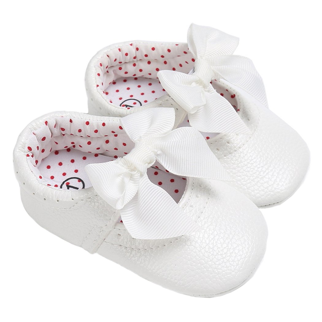 Baby Girls Mary Jane with Bowknot Princess Dress Shoes Crib Shoes for Photos White Size S
