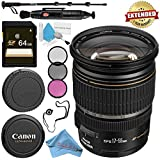 Canon EF-S 17-55mm f/2.8 IS USM Lens 1242B002 + 77mm 3 Piece Filter Kit + 64GB SDXC Card + Lens Pen Cleaner + Fibercloth + Lens Capkeeper + Deluxe 70 Monopod + Deluxe Cleaning Kit Bundle